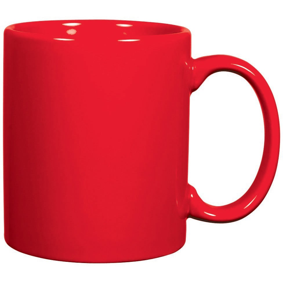 C Handle Ceramic Mug 11 Oz Red And Orange Custom