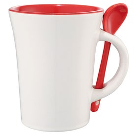 Dolce Ceramic Mug with Spoon for Marketing