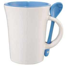 Monogrammed Dolce Ceramic Mug with Spoon