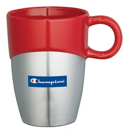 Promotional Double Dipper Ceramic Mug with Stainless Base