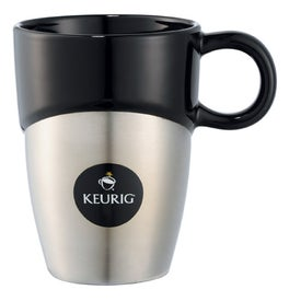 Double Dipper Ceramic Mug with Stainless Base for Your Organization