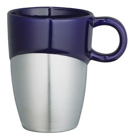 Logo Double Dipper Ceramic Mug with Stainless Base