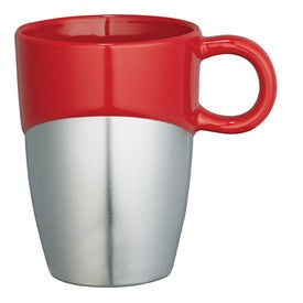 Advertising Double Dipper Ceramic Mug with Stainless Base