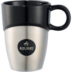 Double Dipper Ceramic Mug with Stainless Base (11 Oz.)
