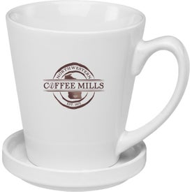 Glossy Latte Mug with Coaster (12 Oz., White)