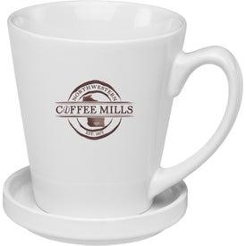 Glossy Latte Mug with Coaster (12 Oz., White)