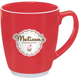 Large Red or Orange Color Bistro with Accent Mug Printed with Your Logo