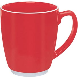 Large Red or Orange Color Bistro with Accent Mug Imprinted with Your Logo
