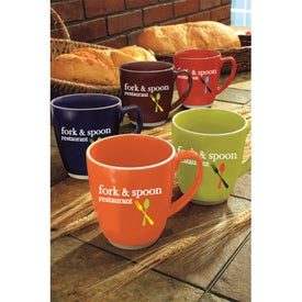Large Red or Orange Color Bistro with Accent Mug with Your Logo