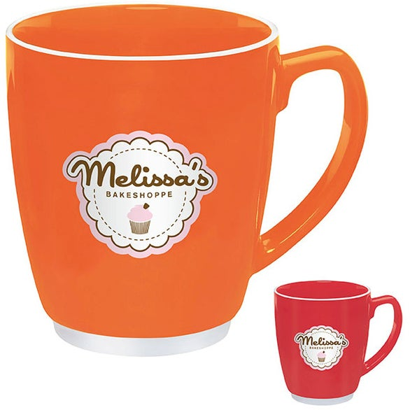 Large Red or Orange Color Bistro with Accent Mug