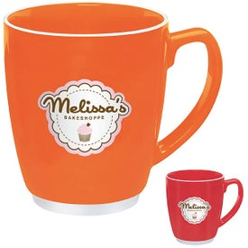 Large Red or Orange Color Bistro with Accent Mug for Customization