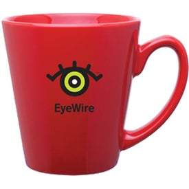Mini Latte Ceramic Mug (Red - 12 Oz.)