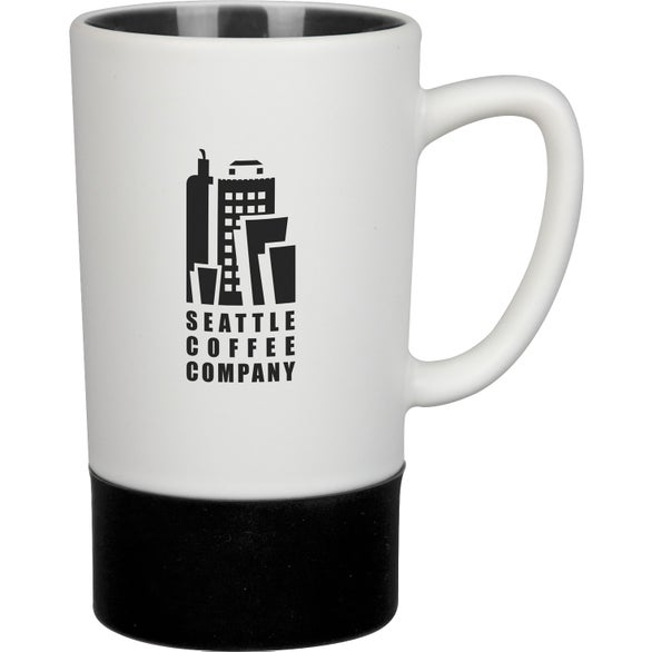White / Black Monument Ceramic Mug with Silicone Accent
