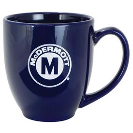 Solid-Color Bistro Ceramic Mugs (16 Oz., Cobalt)
