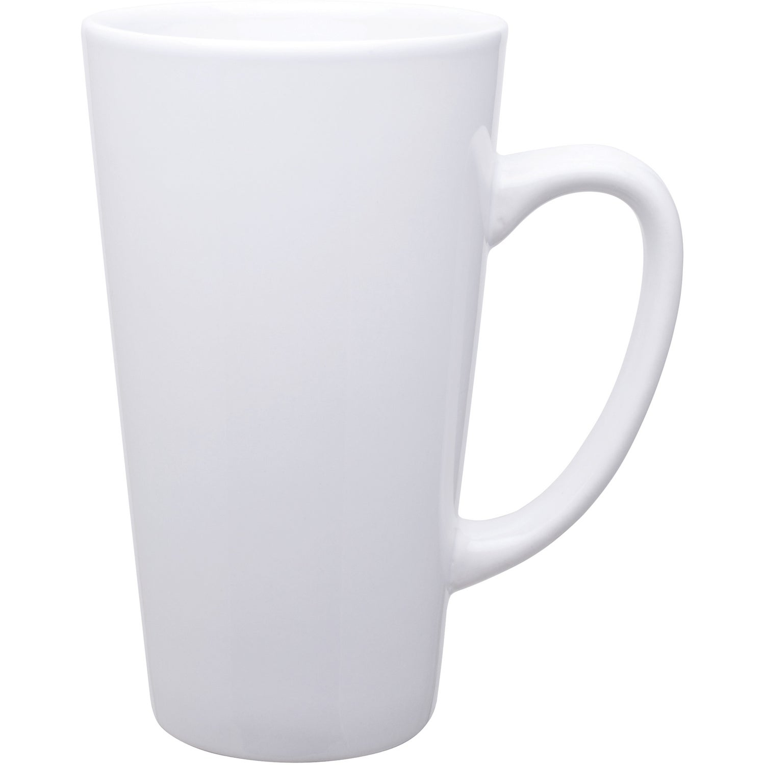 White Tall Latte Ceramic Mug 16 Oz