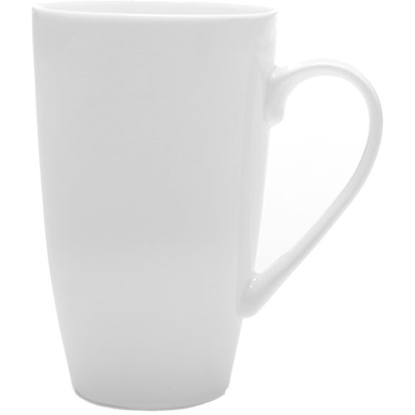 White Tall Latte Mug with Handle