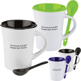 Two-Tone Ceramic Mug with Matching Spoon (10 Oz.)
