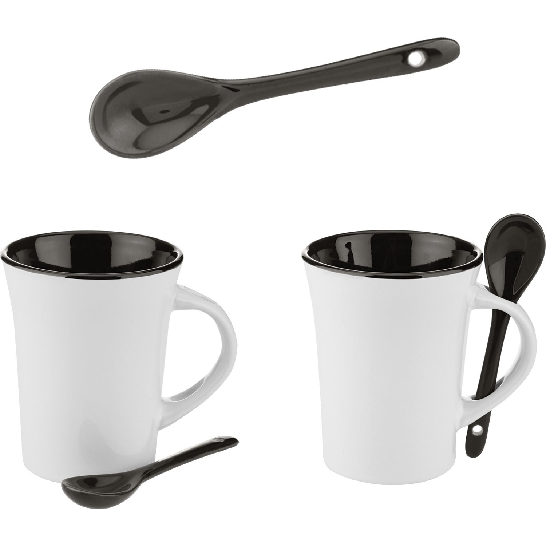 Two Tone Ceramic Mug With Matching Spoon 10 Oz Custom