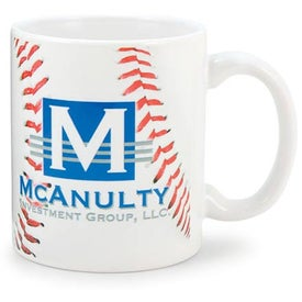 White Sublimation Mug (11 Oz., Baseball Design)