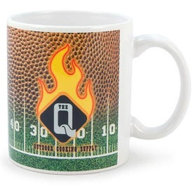 White Sublimation Mug (Football 11 Oz., Full Color)