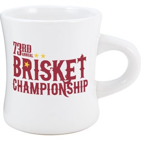 White Vitrified Diner Mug with Your Slogan