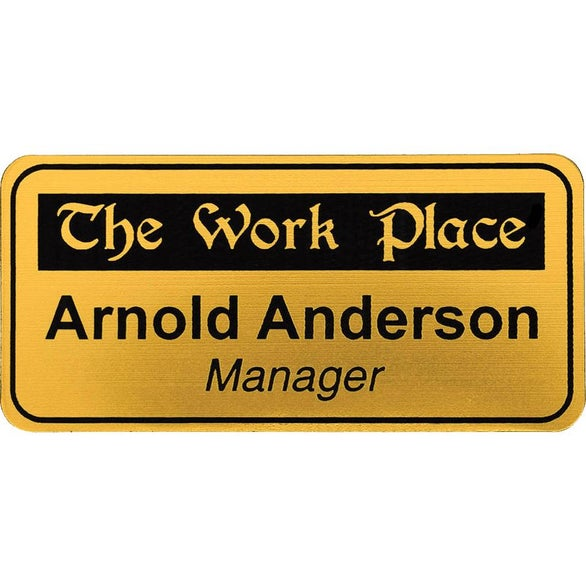 Brushed Gold / Black Rectangle Name Badge with Round Corners