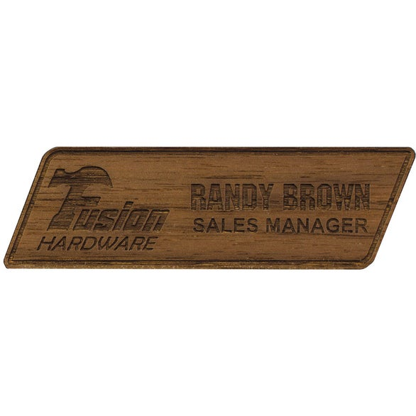 Brown Texture Tone Custom Wood Name Badge