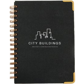 Woven Paper Hardback Notebooks with Metal Accents (80 Sheets)