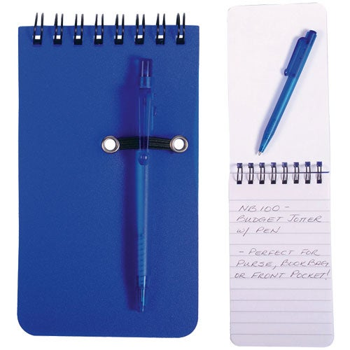 Blue Budget Jotter with Pen