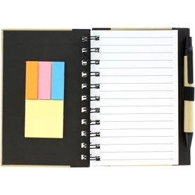 Color Edge Eco Journal and Sticky Note Combo Imprinted with Your Logo