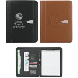 Eclipse Bonded Leather Portfolio with Calculator Imprinted with Your Logo