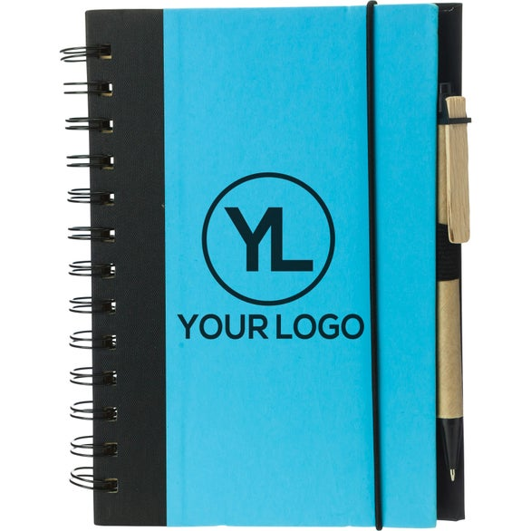 Light Blue / Black Eco-friendly Notebook and Pen