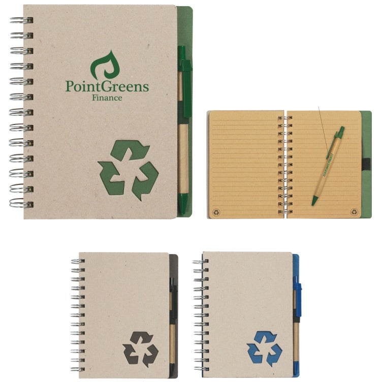 """Eco Rich Spiral Notebook and Pen (5"""" X 7"""")"""