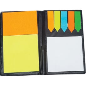 Leather Look Padfolio with Sticky Note Pads and Flags for Customization