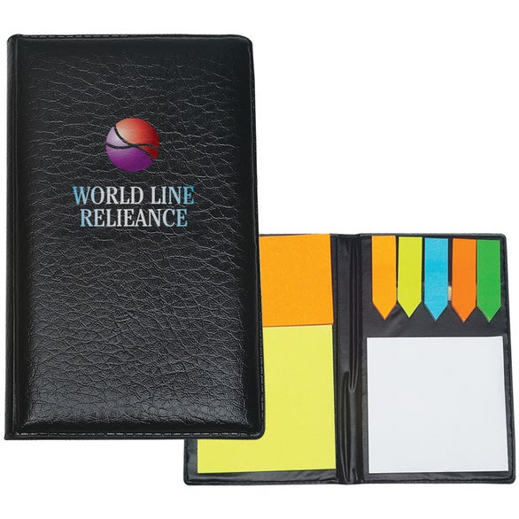 Leather Look Padfolio with Sticky Note Pads and Flags