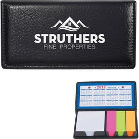 Leather Look Case of Sticky Notes with Calendar Giveaways