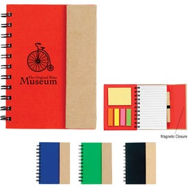 Small Spiral Notebook with Sticky Notes and Flags with Your Logo