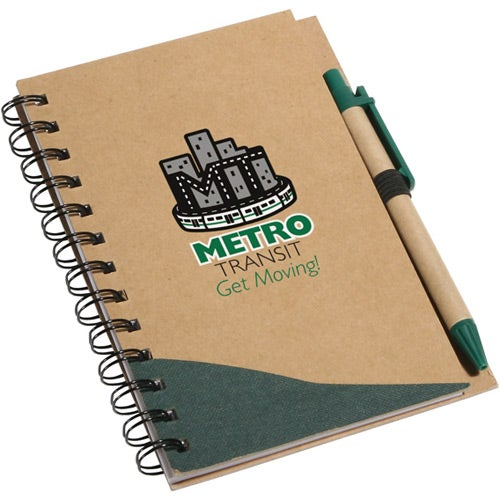 Green / Tan Recycle Write Notebook And Pen