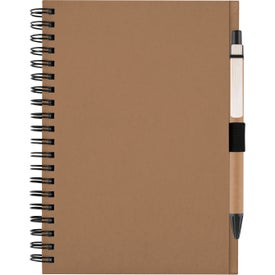 Printed Recycled Notebook with Matching Paper Pen