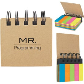 Spiral Book With Sticky Notes And Flags Imprinted with Your Logo