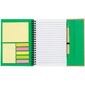 Spiral Notebook with Sticky Notes and Flags with Your Slogan