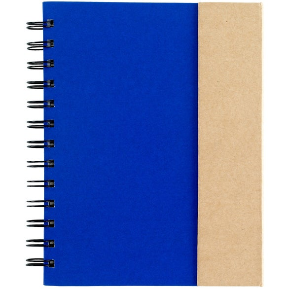 Blue / Natural Notebook with Sticky Notes and Flags