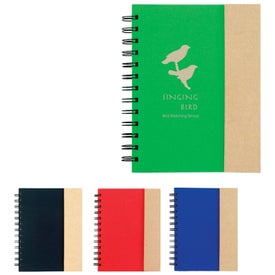 Spiral Notebook with Sticky Notes and Flags Printed with Your Logo