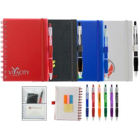 Spiral Pocket Organizer and Sticky Note Combo Branded with Your Logo