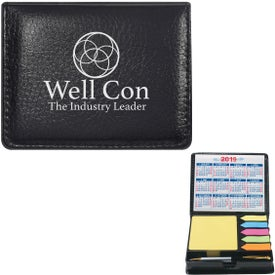 Leather Look Case of Sticky Notes with Calendar and Pens (2021)