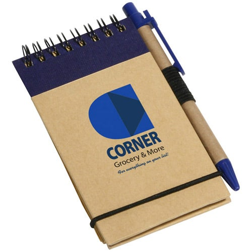 Blue / Tan Think Green Recycled Notepad And Pen