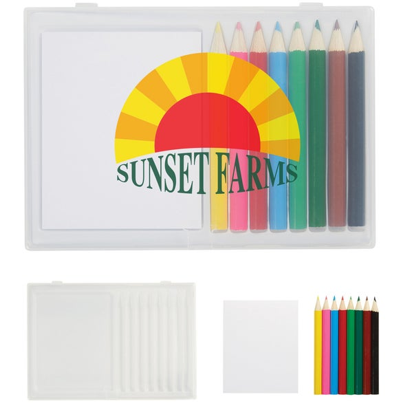 See Item 8 Piece Colored Pencil Art Set In Case