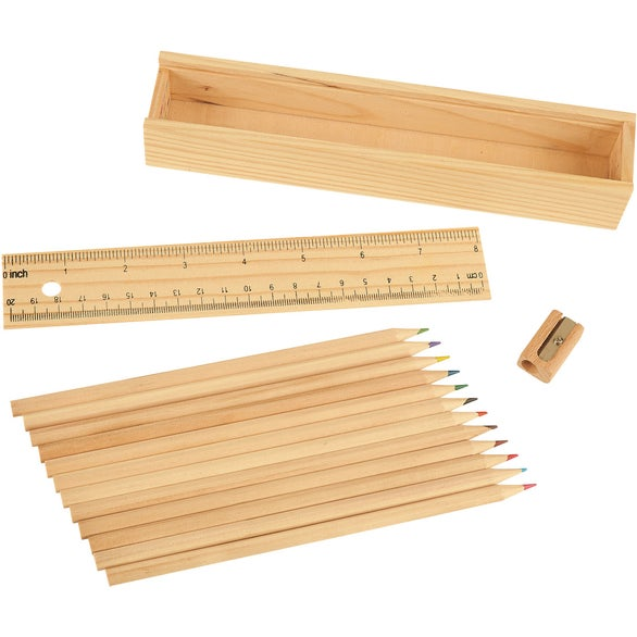 Natural Colored Pencil Set In Wooden Ruler Box