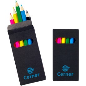 Six Color Wooden Pencil Set in Black Box