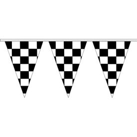 Black and White Checkered Traingle Pennant Strings